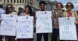 AAUW staff and interns rally on Capitol Hill in Washington, D.C. on Equal Pay Day 2017.