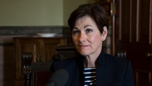 Lt. Governor Kim Reynolds speaks with Iowa Public Radio's Morning Edition host Clay Masters about her transition to be the next governor. 5/2/2017 Photo by John Pemble